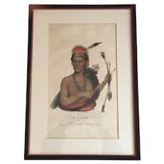 Large Folio 19th c. McKenney & Hall Hand Colored Print of Pow - A - Sheek, A Fox Chief, 1838 from Indian Tribes of North America