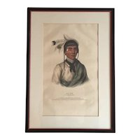 Large Folio 19th c. McKenney & Hall Hand Colored Print of No - Tin A Chippewa Chief, 1842 from Indian Tribes of North America
