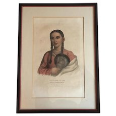 Large Folio 19th c. McKenney & Hall Hand Colored Print of Rant - Che - Wai - Me, Female Flying Pigeon, 1837 from Indian Tribes of North America