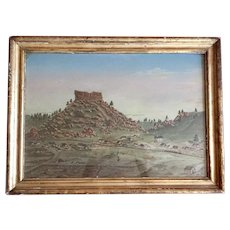 19th century Folk Art American West Colorado Landscape Oil Painting of an Early Settlement with a Train, Small Town and Farm Enclosure