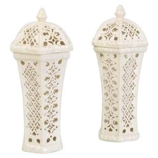 Pair 18th century Creamware Hexagonal Beaker Form Reticulated Vases and Covers Impressed Marks Leeds Pottery