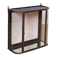 Antique 19th century Brass and Curved Glass Hanging Wall Store Display Cabinet Vitrine or Shadow Box with Wood Back