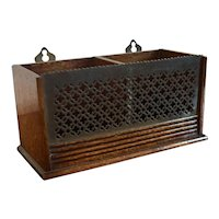 Antique 19th century English Oak and Brass Hanging Letter Rack, Box or Desk Caddy with Reeded Base and Pierced Grill