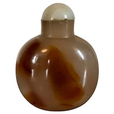 Antique 19th century Chinese Carved Agate Stone Snuff Bottle with Jade Stopper