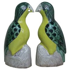 Pair Mid 18th century Chinese Qianlong Porcelain Models of Parrots in Famille Verte Glaze