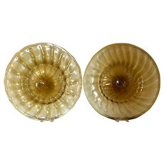Large Pair Hand Blown Murano Amber Glass Round Charger Plates or Serving Platters with Rolled Lip