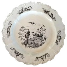 Antique 18th century English George III Wedgwood Liverpool Exotic Bird Creamware Plate 1760 - 1790
