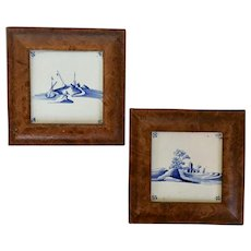 Pair Antique 18th century Dutch Delft Blue & White Tin Glaze Faience Tiles in Burl Walnut Frames