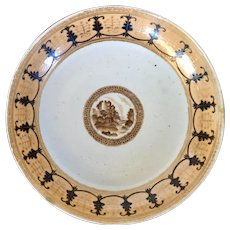 Antique 18th / Early 19th century Chinese Export Porcelain Dessert Dish Plate for the American Federal Market 1790 - 1810