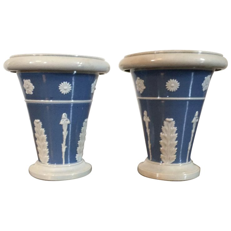 Pair Antique Early 19th Century Ralph Wood Pearlware Light Blue
