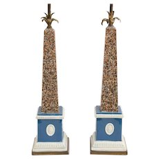 Pair Antique George III 18th century Ralph Wood Pearlware Faux Porphyry or Granite Obelisks Mounted as Lamps