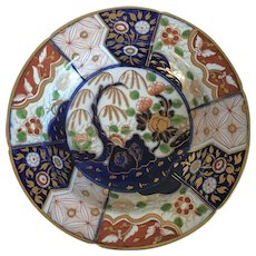 Antique Early 19th c. Coalport Porcelain Imari Soup Bowl Plate in Rock & Tree Pattern 1805