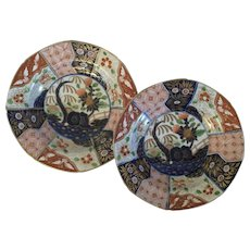 Antique Pair Early 19th c. Coalport Porcelain Imari Soup Bowl Plates in Rock & Tree Pattern 1805