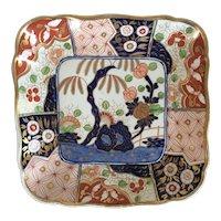 Antique Early 19th century Coalport Porcelain Rock & Tree Imari Square Dessert Dish 1810