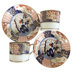 Pair Antique Early 19th c. Coalport Porcelain Imari Rock & Tree Tea Cups or Coffee Cans & Saucers