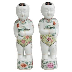 Pair Antique 18th century Chinese Famille Rose Porcelain Ho Ho Boy Twins