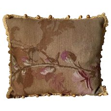Aubusson Pillow with Yellow Silk Passementerie Ball Fringe Trim