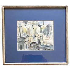 1950's Watercolor Drawing of a Continental Port City - Portugal in Silver Gilt Frame