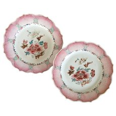Antique Pair 18th century Chinese Export Porcelain Famille Rose Pink Lotus Plates with Peony Design 1760