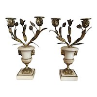 Antique Pair 18th century French Louis XVI Period Fire Gilt Bronze and White Marble Urn Form Candelabra