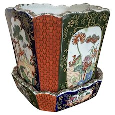 Antique 19th century Mason's Ironstone Octagonal Flower Pot Planter Cachepot and Under Tray in the Chinese Taste