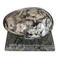 Large Antique 19th century Grand Tour Specimen Marble Egg Paperweight Mounted on a Plinth
