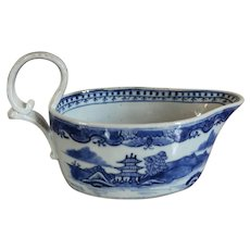 Antique 18th century Chinese Export Porcelain Canton Blue & White Silver Shape Sauce Boat 1790
