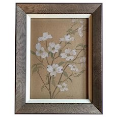Antique 1907 Gouache Flower Painting of Dogwood Branches in the Aesthetic Taste