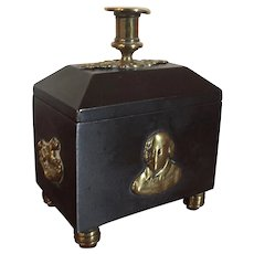 Antique 19th century English Regency Iron and Brass Mounted Tobacco or Desk Box for Wax Seals with Candle Stick Holder, Shakespeare Reference