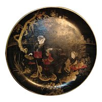 19th century Lacquer Papier Mache Bowl or Tray with Chinese Figures / Tea Ceremony in Landscape