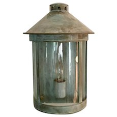 Set 5 Custom Verdigris Copper & Curved Glass Conservatory Wall Lantern Sconces for Inside or Outside Use Hand Made by Marston & Langinger, London