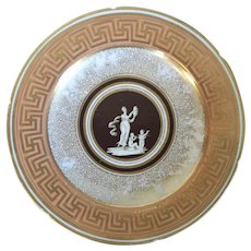Antique Early 19th century English Regency Coalport Plate Decorated with a Classical Figure and Gilt Greek Key Border on Salmon Ground 1810