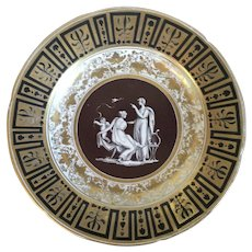 Antique Early 19th century English Regency Coalport Plate Decorated with a Classical Figure and Gilt Greek Key Border on Brown Ground 1810