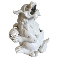 Antique 18th / 19th century Japanese Edo Period Blanc de Chine Porcelain Koro or Incense Burner in the Form of a Kylin Tiger Foo Dog Mythical Beast Dragon