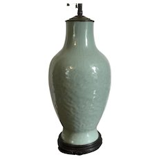 Antique 19th century Chinese Monochrome Celadon Glaze Porcelain Vase as a Table Lamp