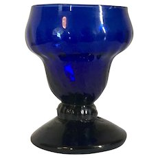 Antique 18th century Cobalt Stiegel Glass Goblet Shape Open Salt Cellar