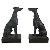 Pair Cast Iron Whippet Dog Figures with Fine Casting and Heavy Weight