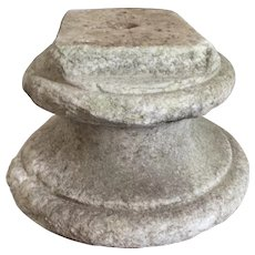 Antique 18th century Weathered Carved White Marble Socle or Display sTand Base for a Bust or Sculpture