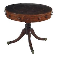 Antique George III Mahogany Revolving Library Drum / Rent Center Table with Tooled Leather Top c. 1800 - 1810