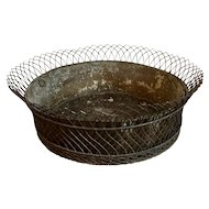 Large Antique French Wire or Wirework Round Planter Basket Centerpiece for Flowers or Fruit with Tole Liner 19th century