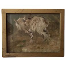 Small Scale Antique 19th century English Oil Painting Sketch of a Young Goat or Kid by Robert Alexander RSA, RSW (1840 - 1923)