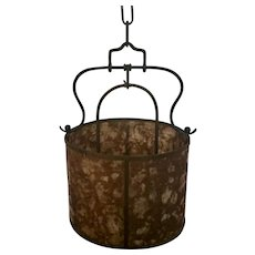 Antique Early 20th century Mission Arts & Crafts Period Copper Hall Lantern Chandelier with Mica Shade 1910