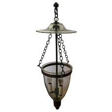 Antique 19th century English Bell Jar Glass Hall Lantern with Smoke Shade Now Electrified