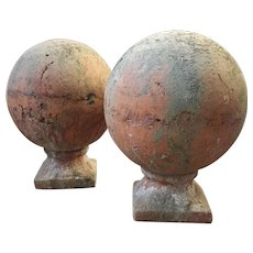 Pair Antique Early 20th century Architectural Terracotta Garden Ornaments or Gate Post Finial Balls