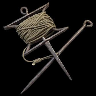 Antique 19th century English Garden Tool Blacksmith Hand Forged Cast Iron Flower Bed Border Edging Line