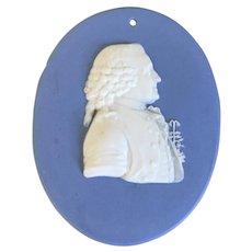 Antique 18th century George III Wedgwood Solid Jasperware Portrait Plaque Medallion of Carl Linnaeus