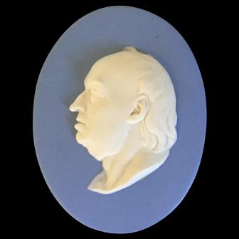 Antique 18th century George III Wedgwood Solid Jasperware Portrait Plaque Medallion of Samuel Johnson