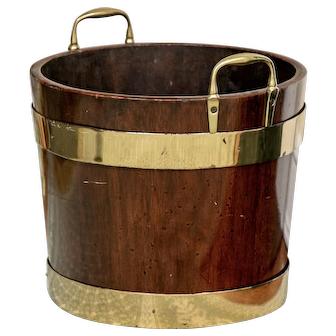 Antique Early 19th century English George III Mahogany Brass Bound Peat Bucket with Loop Handles