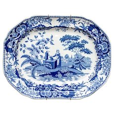 Large Antique Early 19th century English Georgian Staffordshire Pearlware Blue & White Turkey Platter Girl at the Well Marked Heath