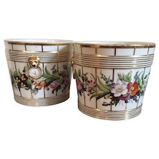 Pair Antique French Empire Early 19th century Paris Porcelain Cachepot Planter Vases or Jardinieres 1820